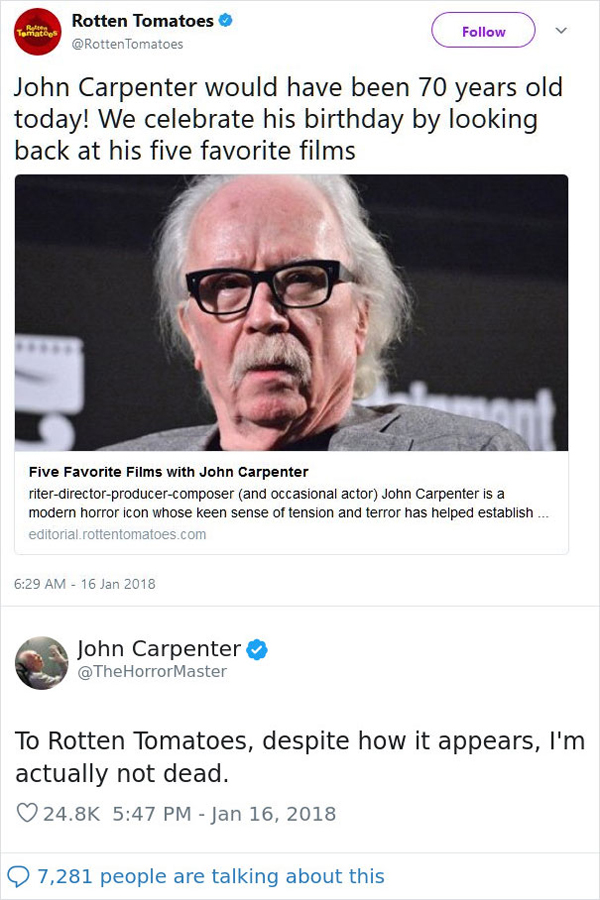 people being called out john carpenter alive