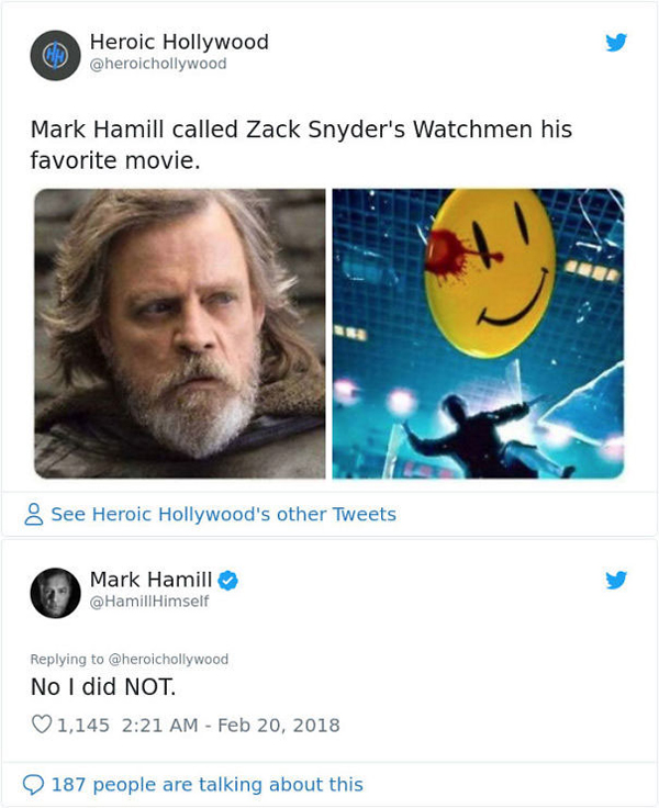 people being called out mark hamill watchmen fan