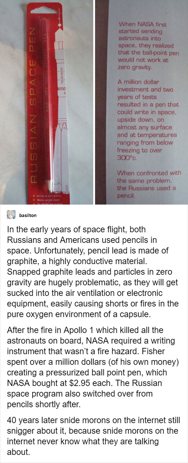 people being called out space pen explained