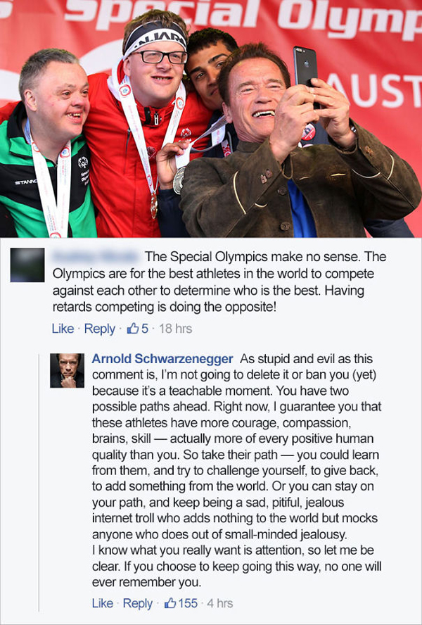 people being called out special olympics arnold schwarzenegger
