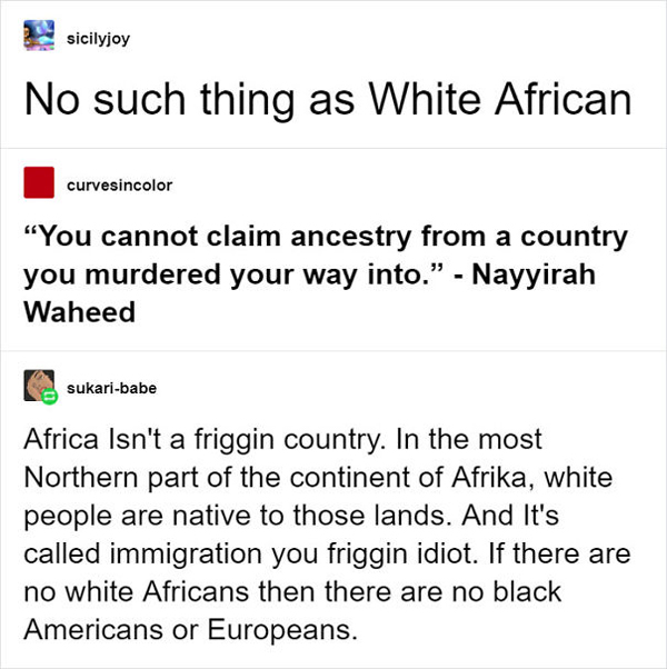 people being called out white african debate