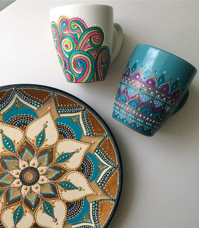 plate and mugs mandala art ceramic plates anastasia safonov