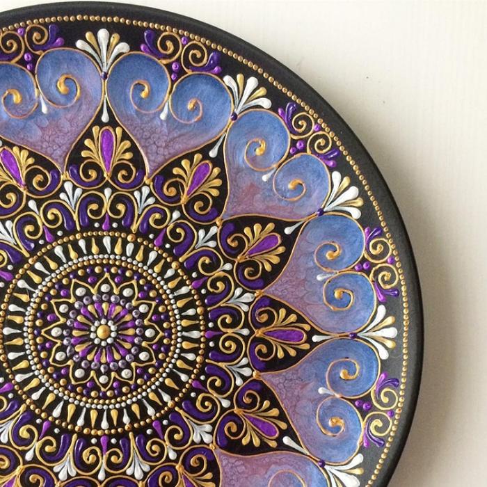 purple hearts mandala art ceramic plates anastasia safonov
