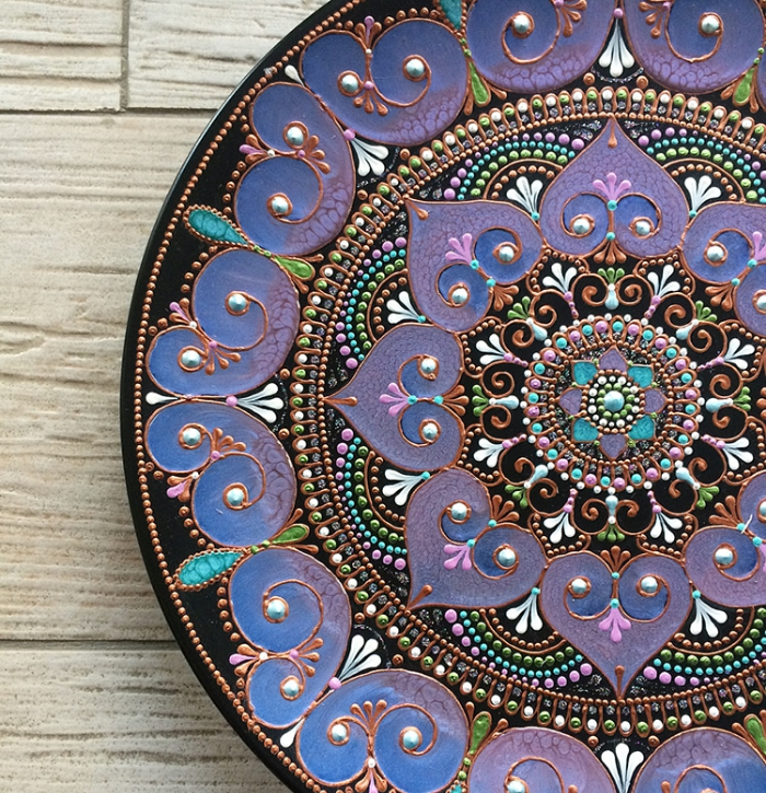 purple mandala art ceramic plates anastasia safono