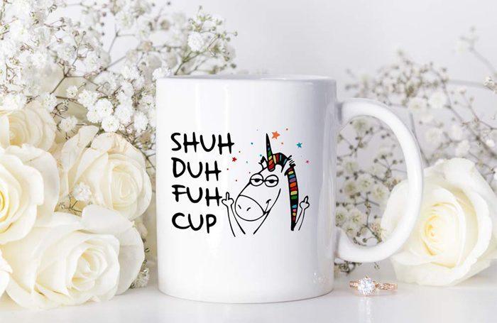 shuh duh fuh cup coffee mug unicorn print