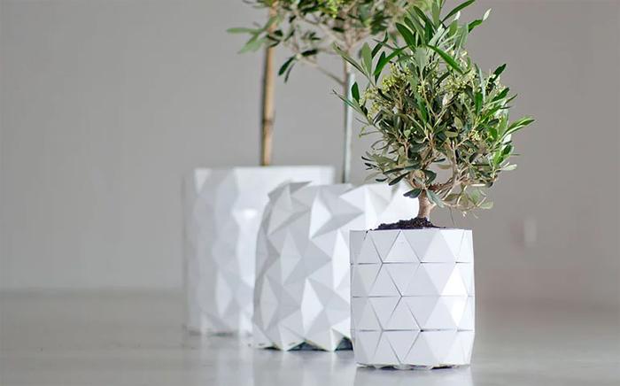 studio ayaskan concept shape-shifting origami planter