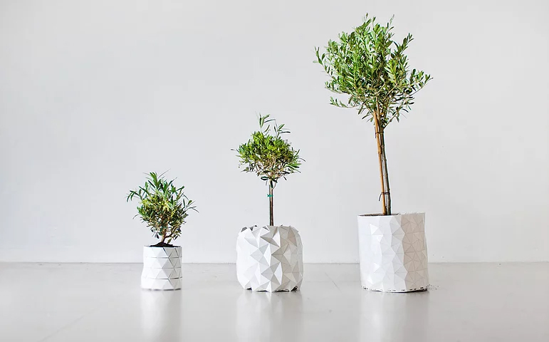 studio ayaskan shape-shifting origami planter