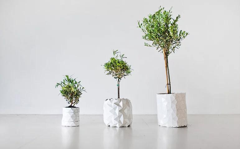 studio ayaskan shape-shifting origami planter
