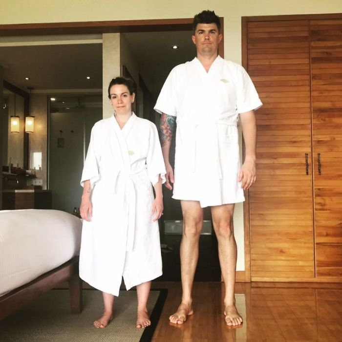 tall people with short people couple bathrobe