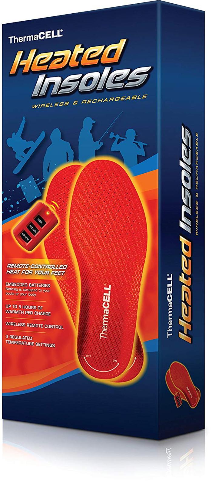 thermacell rechargeable heated shoe insoles box