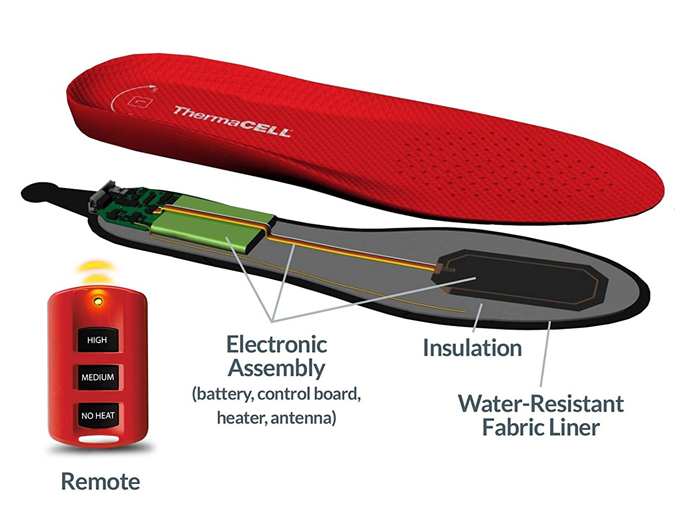 thermacell rechargeable heated shoe insoles electronic assembly