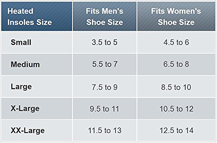 thermacell rechargeable heated shoe insoles size chart