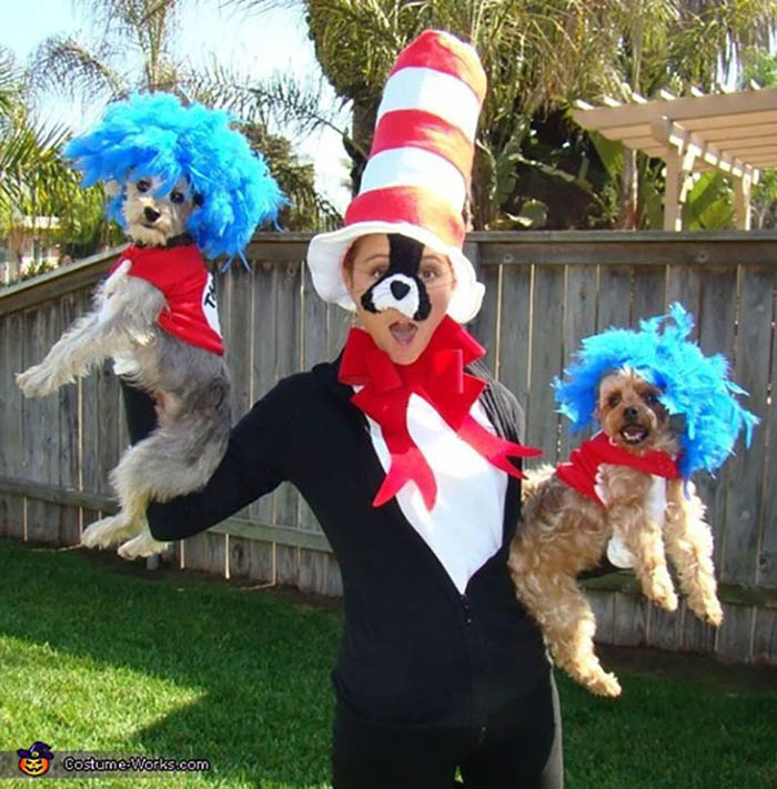 Thing 1 and Thing 2 Matching Dog Costume