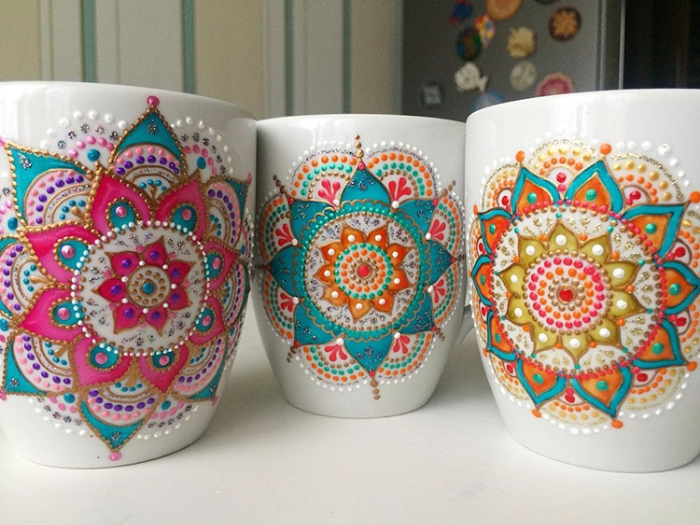 three mugs mandala art ceramic plates anastasia safonov