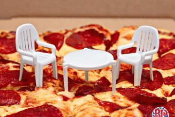 tiny pizza table and chairs boston pizza ad campaign