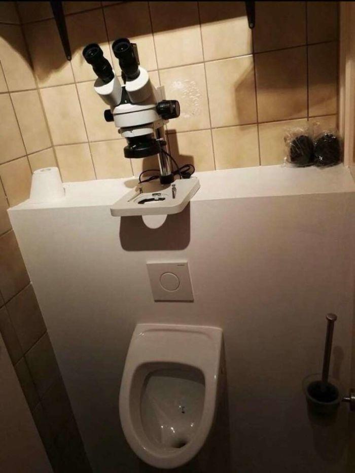 Weirdest toilet with microscope