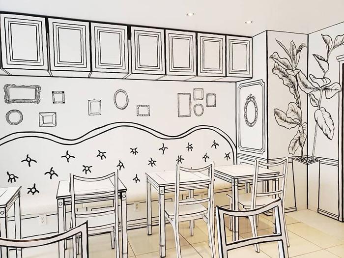 tokyo 2d cafe monochrome interior