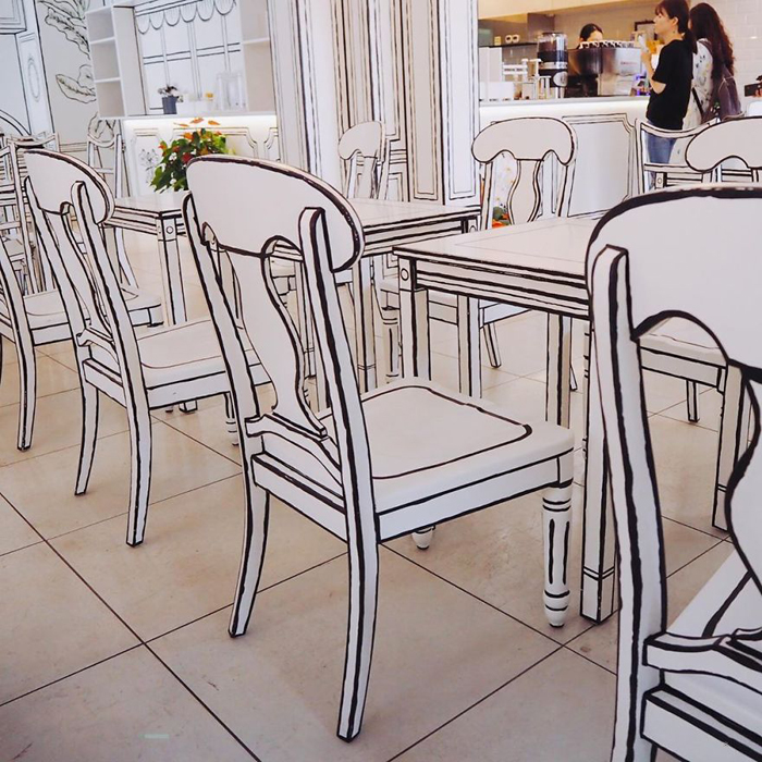 tokyo 2d cafe monochrome tables chairs