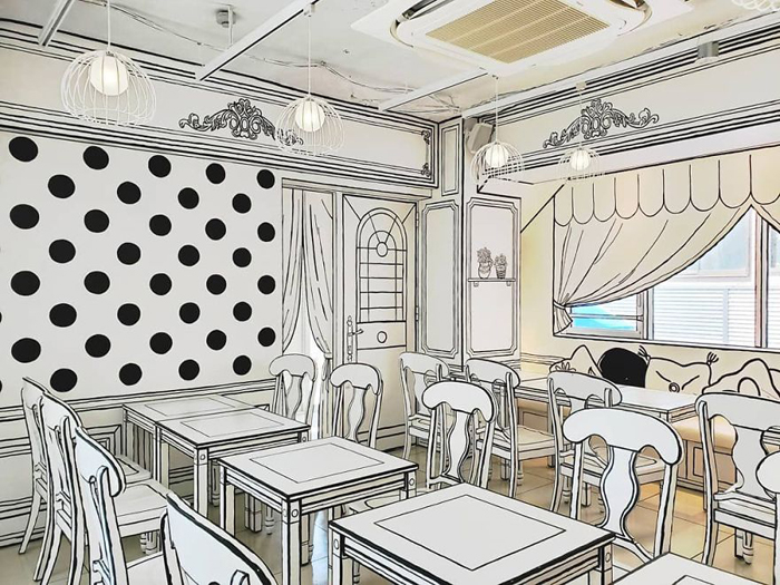 tokyo 2d cafe monochrome wall furniture