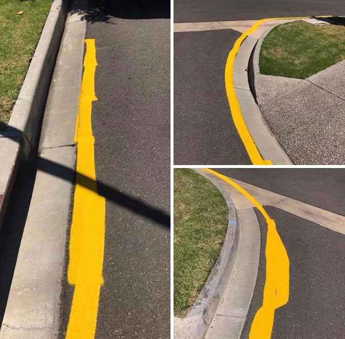 uncomfortable imperfections photos messy yellow line road marking