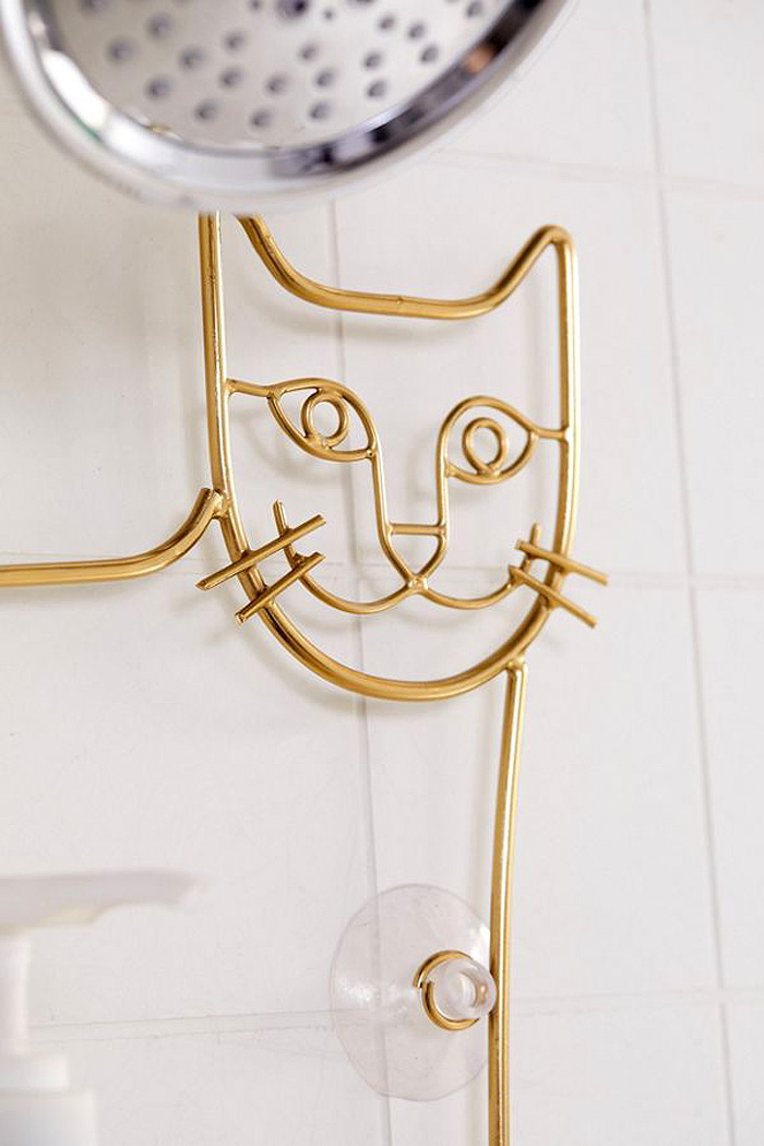 urban outfitters cat shower caddy gold stainless steel