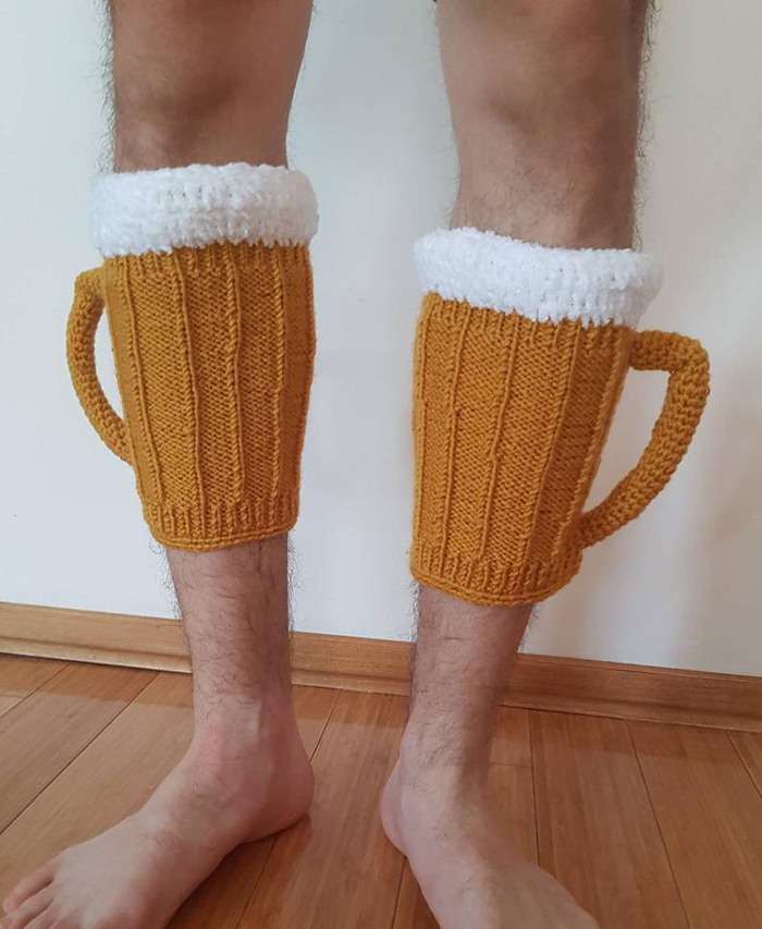 vikysknitncrochet beer mug leg warmers knitted wool