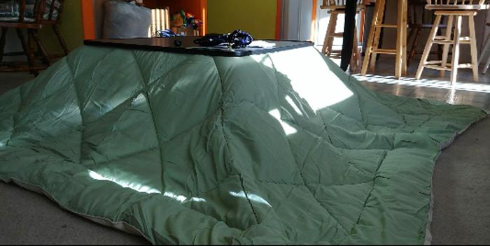 yamazen heated kotatsu table with blanket