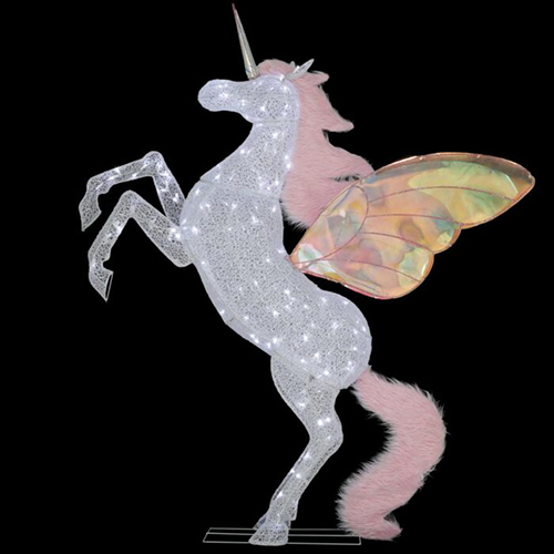 6-Foot Majestic Unicorn Decoration against black background