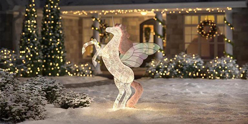 6-Foot Majestic Unicorn Decoration displayed outdoors