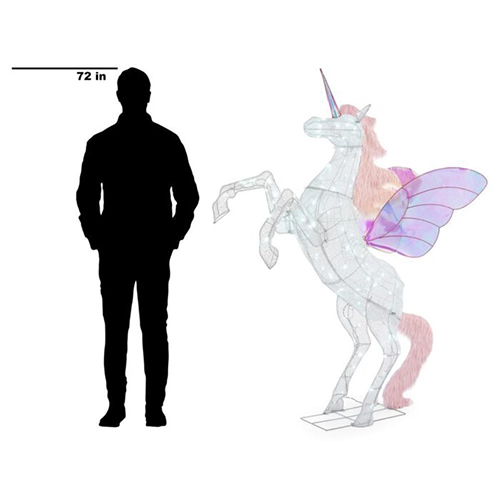 6-Foot Majestic Unicorn Decoration height comparison