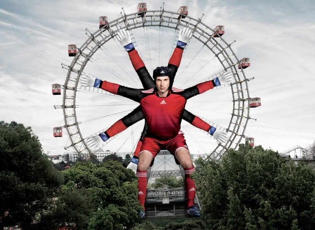 Adidas Advertisement Featuring Petr Cech with Multiple Hands Holding a Ferris Wheel