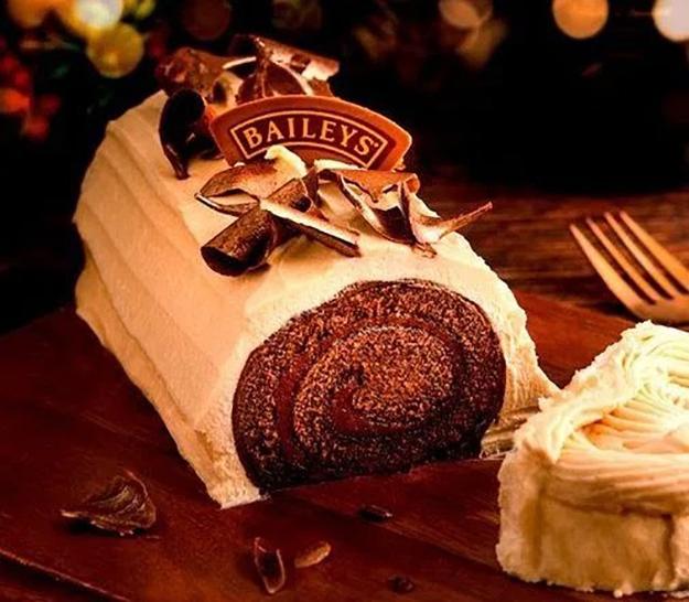 Bailey's yule log sliced