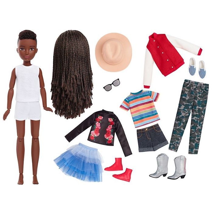 Black Braided Haired Doll Clothes and Accessories