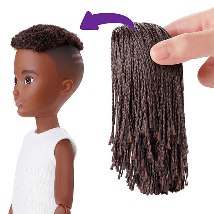 Black Braided Haired Doll with Hair Extension