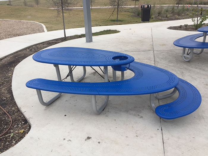 Blue Picnic Table with an Adults Section, Kids Section, and a Built-in High Chair