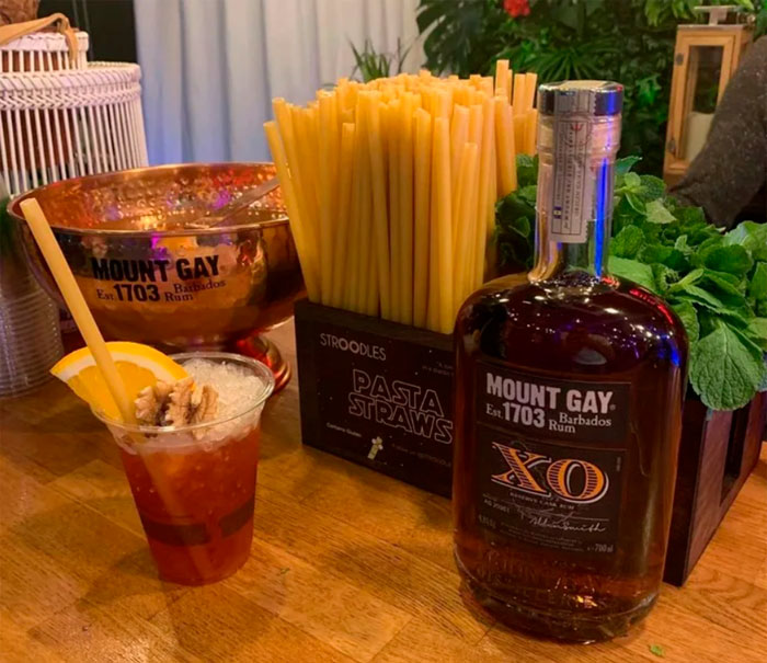 Bottle of Mount Gay Rum and Stroodles