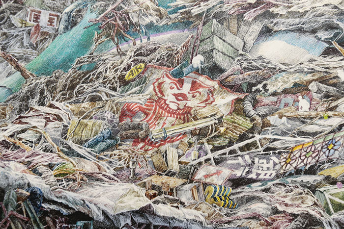 Bucky Badger Detail on Rebirth Painting by Manabu Ikeda