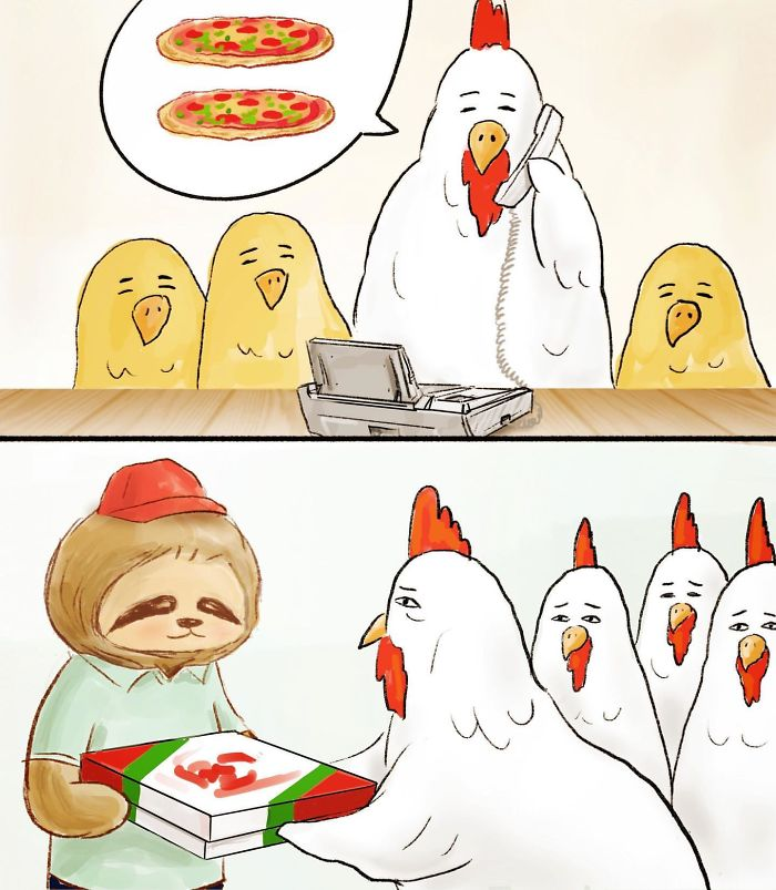 Chicken with Chicks Ordering Pizza from a Sloth