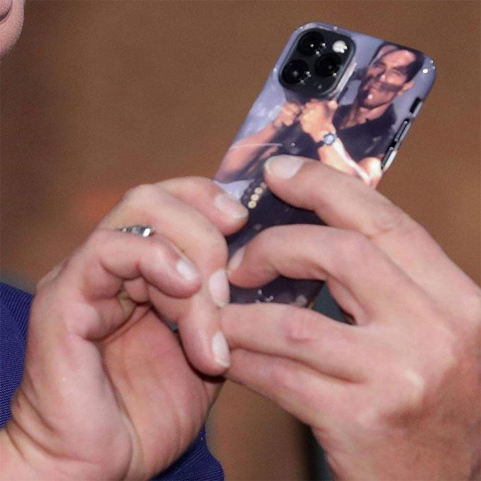 Closeup of the iPhone 11 Pro Arnold Schwarzenegger Rocket Launcher Case