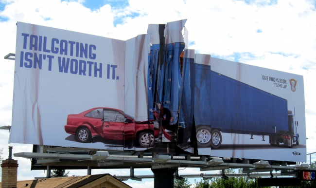 Colorado State Patrol Billboard Anti-tailgating Billboard Featuring a Car That Collided with a Truck