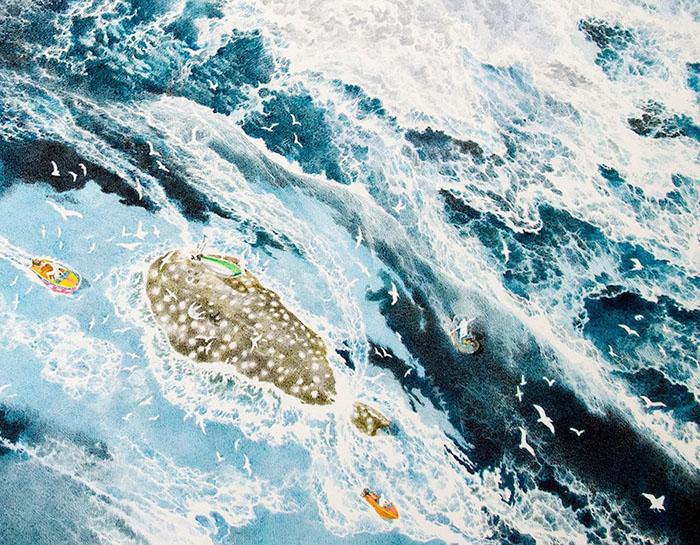Crashing Waves Detail on Rebirth Painting by Manabu Ikeda