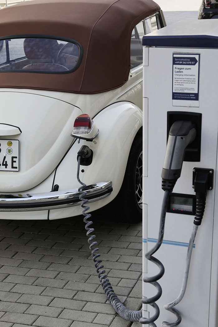 Electric Volkswagen Beetle at Charging Station 2