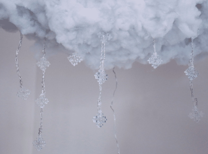 Floating Cloud Light with Dangling Snowflake LED String Lights