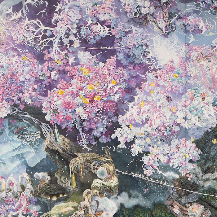 Flower Detail on Rebirth Painting by Manabu Ikeda