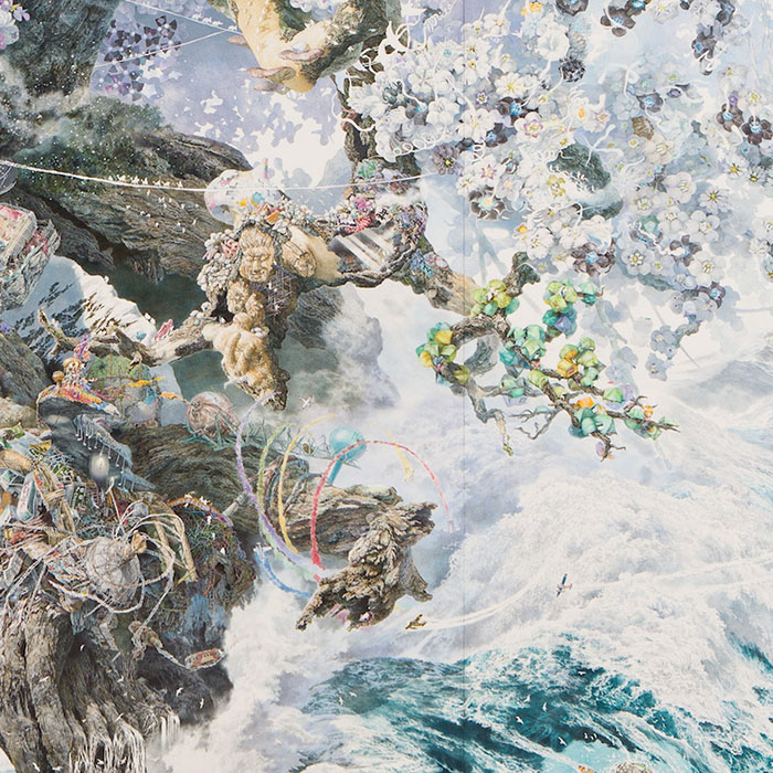 Flowers and Rescue Tents Detail on Rebirth Painting by Manabu Ikeda
