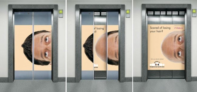 Folliderm Elevator Advertisement Featuring a Man Losing Hair