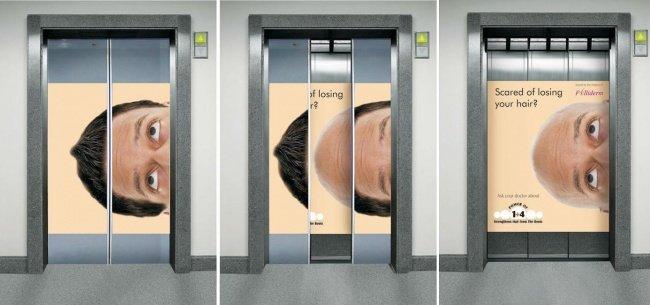 Folliderm Elevator Advertisement Featuring a Man Losing Hair