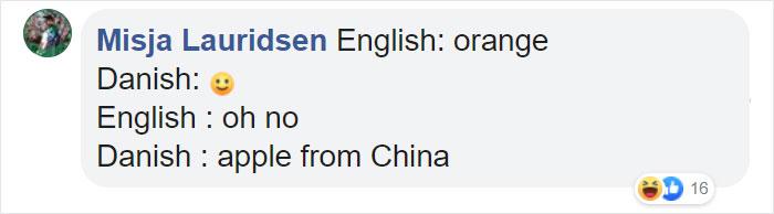 Funny Translation for Orange in Danish