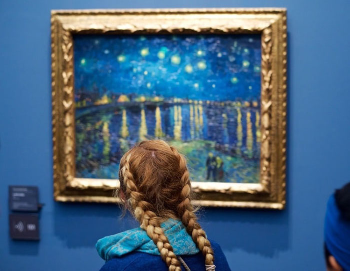 Girl in Blue Hoodie with Braids Matching Painting
