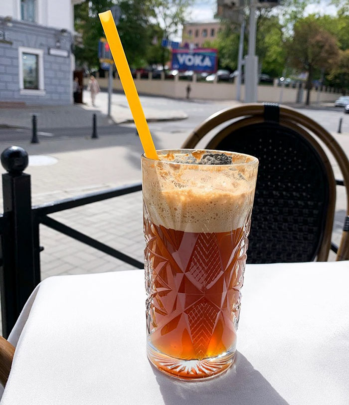 Glass of Iced Coffee with Pasta Straw